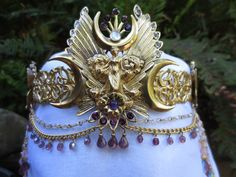 Triple moon crown Goddess with butterflies, amythest & moonstone, beaded brass crown tiara circlet