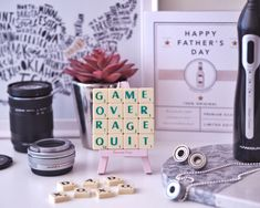 Fathers Day Gift Guide* #fathersday #fathersdaygift #gifts #giftideas #father #camera #scrabble #coaster #upcycle #upcycling #ballbearing #necklace #cufflinks #bbq #events #blogging #bloggers #flatlay