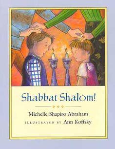 Shabbat Shalom! by Michelle Shapiro Abraham. Parents blessing their children on Shabbat.