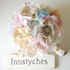 Fabric flower bouquet, Shabby chic weddings, Wedding bouquet, Blue bridal bouquet, Unique wedding bouquet. £175.00, via Etsy.