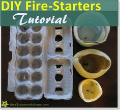 Dryer Lint Fire Starters - EASY!!  You only need dryer lint, a cardboard egg carton, and an old candle - make several fire starters and store in a ziploc bag to take camping or for backyard fires.  Learned this from my Eagle Scout brother!