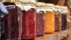 All are a mixture of fruit and sugar. The difference between jelly and jam is the amount of solid fruit in the mixture. Marmalade is made with citrus rinds. Jelly, jam and marmalade are all fruit preserves. Canning Food Preservation, Preserving Food, Fruit Jam, Fresh Fruit, Fruit Preserves, Mixed Fruit, Strawberry Zucchini Jam, Strawberry Jam, Jalapeno Jam