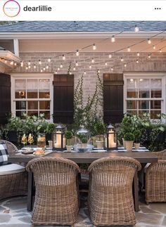 28 Delightful backyard design ideas for summertime inspiration, patio designs ideas – outdoor living space designs Outdoor Rooms, Outdoor Decor, Outdoor Lighting, Outdoor Patio Tables, Outdoor Wicker Chairs, Outdoor Dining Set, Porch Table And Chairs, Garden Lighting Ideas, Outdoor Living Patios