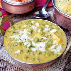 Methi matar mali  ~ An aromatic creamy curry of fresh Fenugreek leaves and green peas.