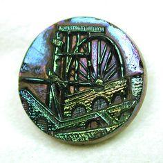 Antique Black Glass Button w Bright Carnival Luster Laxi Wheel Pictorial | eBay