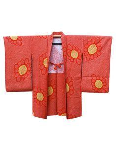 ☆ New Arrival ☆ 'Sunburst' #womens #reddish #orange #silk #vintage #Japanese #shibori #tiedyed #haori #kimonojacket with #floral #design from #FujiKimono http://www.fujikimono.co.uk/fabric-japanese/sunburst.html