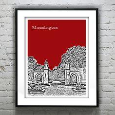 Bloomington Indiana Poster Art Skyline Print  by AnInspiredImage, $19.00