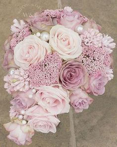 Vintage Pinks Teardrop Bouquet with Sweet Avalanche by Meijer Roses made by Wedding and Events Floral Design! Wedding Flower Design, Dusty Rose Wedding, Rose Wedding Bouquet, Winter Wedding Flowers, Bridesmaid Bouquet, Floral Wedding, Flowers In Jars, Pink Flowers, Gypsophila Wedding