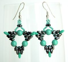 Beading Tutorial - Tri-Dangle Earrings - Super Duo and Rizo Beads