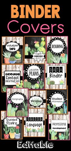 Cactus Classroom Themed Decor Editable Binder Covers and Spines Cacti and succulents with shiplap and chalkboard adorable