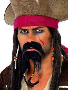 You can purchase a Pirate Facial Hair Set for your Pirate costume in costume parties from the Halloween Spot. This black facial hair set contains Moustache & Beard. Fancy Dress Accessories, Costume Accessories, Beard No Mustache, Moustache, Adult Pirate Costume, Adult Halloween, Pirate Halloween, Pirate Costumes, Halloween 2019