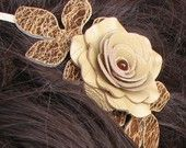 Flower leather headband fascinator, champagne yellow rose, brown leaves on cream metal hairband