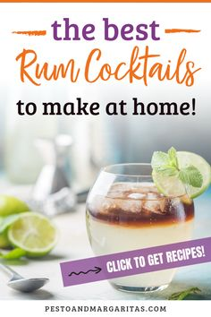 16 rum cocktails including white rum cocktail, dark rum cocktail and coconut rum cocktail to make you love rum. Learn about simple sum cocktail recipes including mojito, Pina colada and daiquiri as well as fancy new cocktails that use rums from around the Best Rum Cocktails, Rum Cocktail Recipes, Beach Cocktails, Cocktail Menu, Cocktail Making, Simple Cocktail Recipes, Winter Cocktails, Cocktails Using Rum, Drink Recipes
