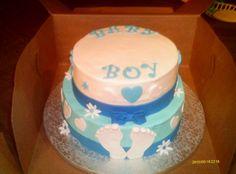 blue baby shower cake. I like the style