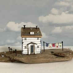 Washing day at fisherman's cottage #shabbychic #rustic #shabbydaisies #seasidecreations #rusticart #driftwoodart #littlecottage #littlehouse #washingline #washing #cottage #nautical #seaside #seagulls