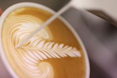 Beautiful milk dripping on delicious coffee to create pretty latte art! #latteart #coffee