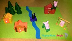 HappyMum Angie - Felt playmat: The three little pigs and the bad wolf