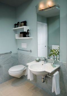 bathroom with wheelchair accessibility | Cool and Calming Wheelchair Accessible BathroomUniversal Design Style