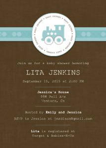 Mixbook Blue Train Boys Baby Shower Invitations