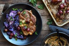 Pork blade steaks with roasted grapes and braised red cabbage