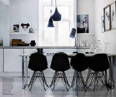 eames, tom dixon, foscarini design decorating before and after Dining Room Inspiration, Interior Inspiration, Interior Ideas, Sweet Home, Black And White Interior, Black White, House Design Photos, Eames Chairs, Home And Deco