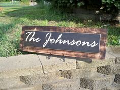Burnt Wood Personalized Family Last Name Sign - The Johnsons