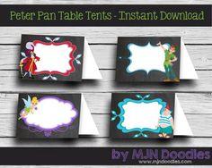 Peter Pan Table Printable Table Tents - Tinkerbell - Hook - Never Never Land - Disney - Digital File - DIY - Chalkboard Birthday