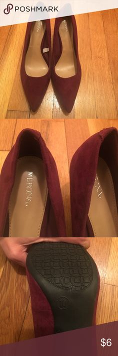 Cute Maroon heels Merona brand maroon suede size 10. Very comfortable! Worn only once to a job interview. I got the job so these shoes have good mojo attached! Merona Shoes Heels