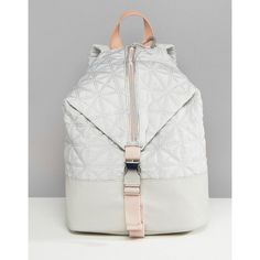Fiorelli Sport Quilted Zip Detail Backpack in Grey (€81) ❤ liked on Polyvore featuring bags, backpacks, grey, draw string backpack, sports duffel bag, quilted duffel bag, padded duffle bag and sport duffle bag