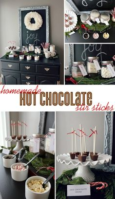 Homemade hot chocolate stir sticks recipe & bar service ideas from @ameliamariedesign via TheCelebrationShoppe.com #christmasparty #hotchocolate #recipe #hotchocolatebar