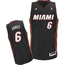 NBA Adidas Miami Heat #6 LeBron James Youth Road Black Swingman Stitched Jersey