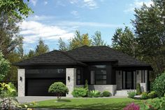 This beautiful bungalow has an undeniable charm with its stone and wood façade and its recessed entrance. The home is 45 feet 10 inches wide by 56 feet deep and provides square feet of living space in addition to a 445 square-foot two-car garage. Cottage Style House Plans, Prairie Style Houses, Bungalow House Design, Cottage Style Homes, Dream House Plans, House Floor Plans, Modern Bungalow Exterior, Exterior House Colors, Modern Bungalow House Plans