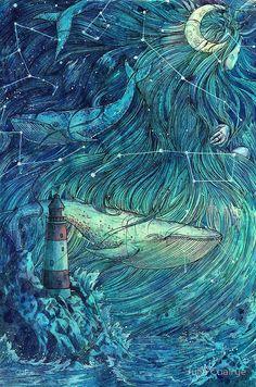 'Moonlit Sea' Art Print by Yulya Shironina Moby Dick, Sea Art, Canvas Prints, Art Prints, Inktober, Art Inspo, Amazing Art, Fantasy Art, Art Drawings