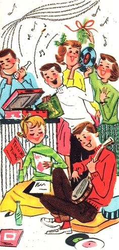Vintage Christmas card teenagers listening to music and dancing
