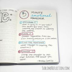 This 5 minute emotional makeover process is from Brooke Castillo at The Life Coach School. Bullet Journal Notes.