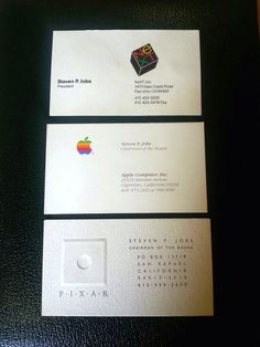 The high school in San Rafael, Calif., is selling three of Steve Jobs' business cards, from his times as president of NeXT and chairman of Apple and of Pixar. Steve Jobs Apple, Apple Business, Steve Wozniak, Country Music Quotes, Bussiness Card, Achievement Quotes, Work Tools, Job S, Business Quotes