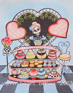 Kitchen Art. Paris Cafe Art Print. Pastel Cupcakes by BonesNelson, $14.50