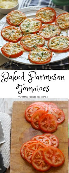 Parmesan Tomatoes - Yumms Food by Side Dish Recipes, Vegetable Recipes, Vegetarian Recipes, Cooking Recipes, Healthy Recipes, Acorn Squash Recipes Healthy, Food Recipes Summer, Baked Parmesan Tomatoes, Healthy Snacks