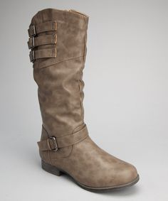 Look what I found on #zulily! Gray Slouchy Buckle Boot by Shoes of Soul #zulilyfinds @carieford