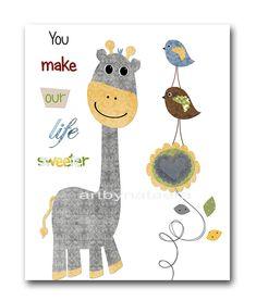 "gray baby Decorations room pokadots | Baby Boy Room Decor, Nursery print 8"" x 10"" Print Giraffe birds yellow ..."