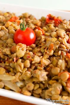 Salada de Lentilha com Tomate, Alho e Cebola Assada - Youtube. Para ver a receita clique na imagem para ir ao Manga com Pimenta.