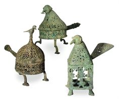 THREE KHORASSAN STYLE BRONZE BIRD-FORM CENSERS AND COVERS,