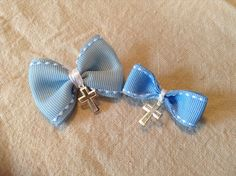 Baby Blue Bow Witness Pins for your Godchild's Christening
