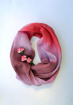 Oversized Pink Tones Scarf  Marsala Linen Shawl  Long от lyralyra