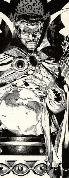 Starnge by Michael Golden * Comic Book Artists, Comic Book Characters, Comic Artist, Marvel Characters, Comic Character, Marvel Comics Art, Marvel Comic Books, Comic Books Art, Black And White Comics