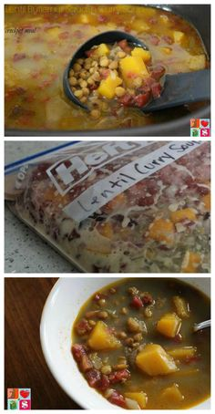 Lentil Butternut Squash Curry Soup - Slow Cooker Recipe on Having Fun Saving and Cooking.