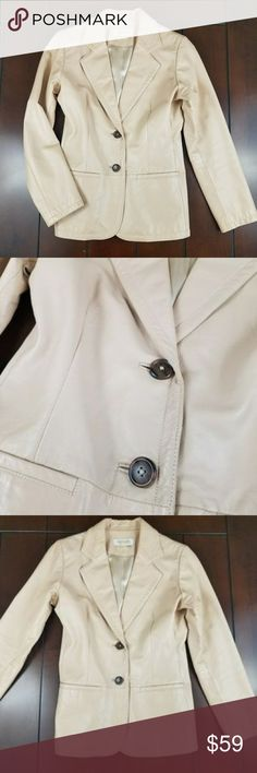Bloomingdales Genuine Leather Jacket Preloved, no flaws. Professional cleaning only. Cream size 8. MARGARET GODFREY Genuine Leather Coat  Shoulder to shoulder 16 underarm to underarm 19.5 length 27 sleeve 24 Margaret Godfrey Jackets & Coats
