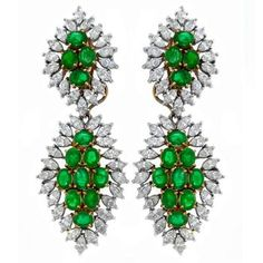 Emerald, Diamond And 18k Yellow And White Gold Night And Day Chandelier Earrings