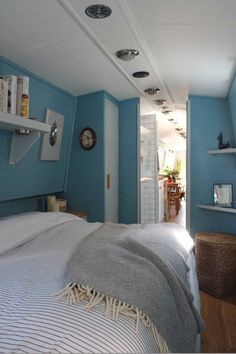 Narrowboat Bedroom Interior - Small Space Design by lunarlunar House Boat, Boat House Interior, Narrowboat Interiors, Narrowboat, Bedroom Interior, Floating House, Interior, Barge Interior, Small Space Design