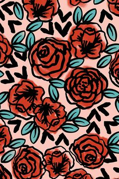 Hand illustrated red roses on a pink background by Andrea Lauren. Available in fabric, wallpaper, and gift wrap.
